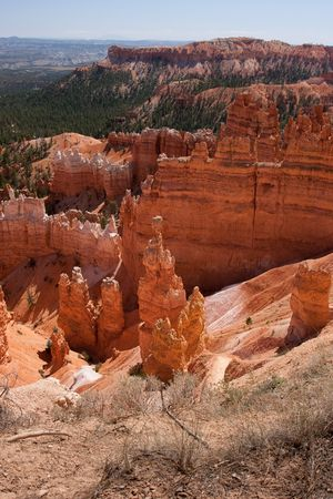 Bryce Canyon National Park is located in southwestern Utah in the United States and is distinctive due to its geological structures, called hoodoos, formed from wind, water, and ice erosion of the river and lakebed sedimentary rocks. photo