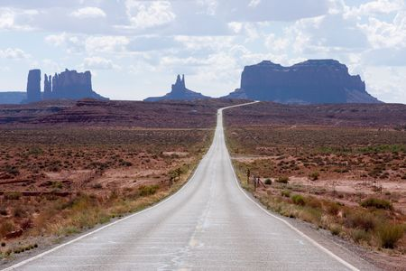 Highway 163 approaching Monument Valley in southeastern Utah.