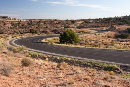 cornering: A windy road found in Canyonlands National Park.
