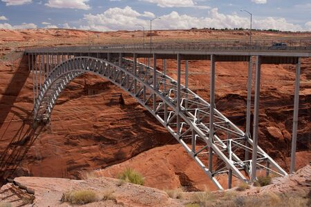 Glen Canyon Bridge near Page, Arizona is the 4th highest bridge in the United States. Фото со стока
