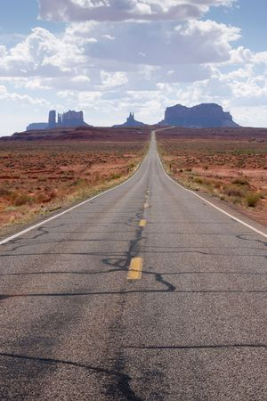 navajo land: Highway 163 approaching Monument Valley in southeastern Utah.