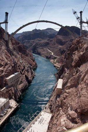 Hoover Dam Bypass Bridge during early construction, provides a bridge connecting roads for a new route across the Colorado River for U.S. Route 93 near the Hoover Dam east of Las Vegas, Nevada photo