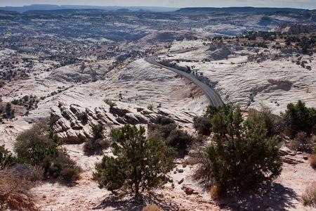 escalante: Highway winding around the desert landscape on Highway 12 near Escalante, Utah