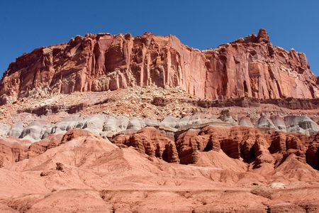 characterized: Capitol Reef National Park is characterized by sandstone formations, cliffs and canyons, and the geological feature called The Castle. Stock Photo