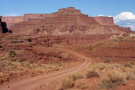 plateau point: Shafer Trail Road and Mineral Road provide access from the main scenic drive atop the Island in the Sky mesa of Canyonlands National Park.
