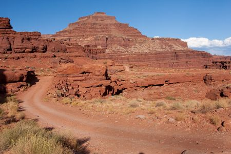 national scenic trail: Shafer Trail Road and Mineral Road provide access from the main scenic drive atop the Island in the Sky mesa of Canyonlands National Park.