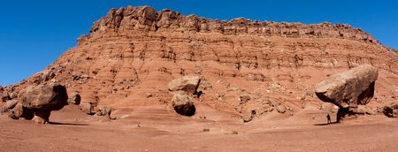 balanced rocks: A balanced rocks below the Vermillion Cliffs near Lees Ferry in the Glen Canyon National Recreation Area, Arizona.