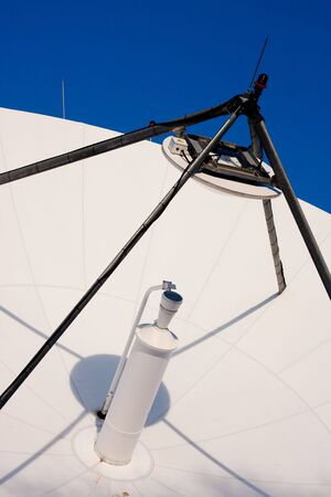 telecommunications industry: A large satellite dish for telecommunications industry aimed into space