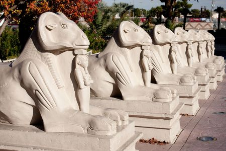 Egyptian statues in a row at Luxor Hotel and Casino in Las Vegas, Nevada