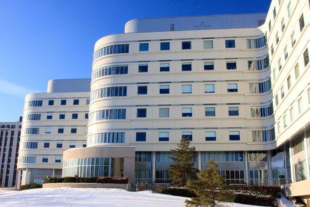 modern hospital: Modern hospital in Saskatoon, Saskatchewan during winter.