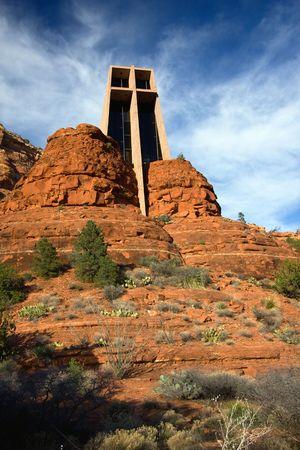 mesas: Chapel of the Holy Cross is an iconic Catholic chapel built into the mesas  of Sedona, Arizona