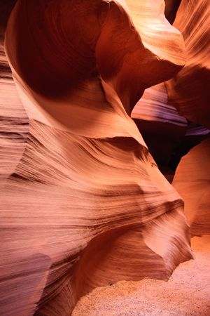 Antelope Canyon has been created over many thousands of years by the forces of water and wind, slowly carving and sculpting the sandstone into forms, textures, and shapes which we observe today. photo