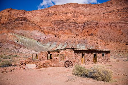Lees Fort, an old stone building at Lees Ferry in Arizona where pioneers used to cross the Gran Canyon.  Stock Photo - 6715229
