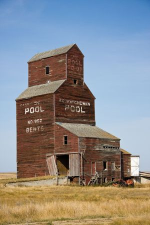 Abandoned grain elevator in the ghost town of Bents, Saskatchewan, Canada photo