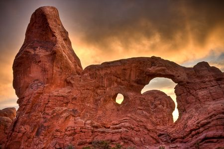 Arches National Park is a U.S. national park in eastern Utah.  This is Turret Arch processed with 3 images in HDR. photo