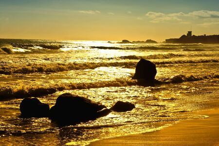 Sunset on the Pacific Ocean on the Malibu Coast of California photo