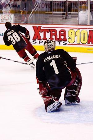 PHOENIX - APRIL 4: Goalie Jason Labarbera of the Phoenix Coyotes of the National Hockey League. April 4, 2010 in Phoenix, Arizona.