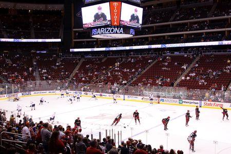 PHOENIX - 4 kwietnia: NHL hockey gra goÅ›cinnie Phoenix Coyotes i Edmonton Oilers w National Hockey League. 4 Kwietnia 2010 w Phoenix, Arizona. Publikacyjne