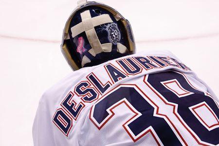 PHOENIX - APRIL 4: Goalie Jeff Deslauriers of the Edmonton Oilers of the National Hockey League. April 4, 2010 in Phoenix, Arizona.