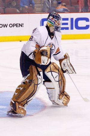 PHOENIX - APRIL 4: NHL goalie Devan Dubnyk of the Edmonton Oilers of the National Hockey League. April 4, 2010 in Phoenix, Arizona.