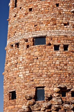 national historic site: Details of the stone building, the Desert View Watchtower, located on the South Rim of the Grand Canyon National Park, Arizona. Stock Photo