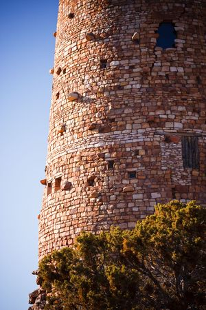 Details of the stone building, the Desert View Watchtower, located on the South Rim of the Grand Canyon National Park, Arizona. photo