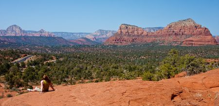 A panaromic view of the red rocks towering over the city of Sedona, Arizona photo