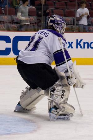PHOENIX MARCH 20: Erik Ersberg for the Los Angeles Kings of the National Hockey League.  March 20, 2008 in Phoenix, Arizona.