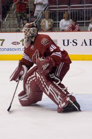 PHOENIX MARCH 20: Ilya Bryzgalov for the Phoenix Coyotes of the National Hockey League.  March 20, 2008 in Phoenix, Arizona.
