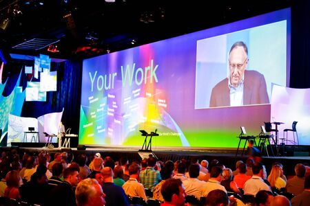 SAN DIEGO - JULY 12: Jack Dangermond at the plenary of the ESRI (Environmental Systems Research Institute) user conference. July 12, 2010 in San Diego California