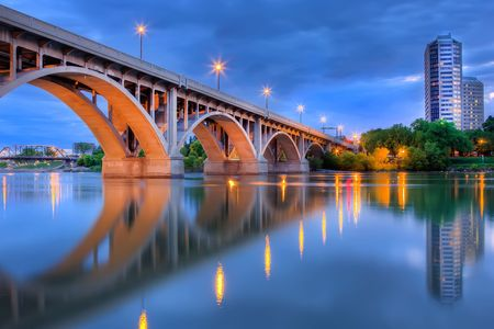 described: Saskatoon is located in central Canada and is popularly described as the Bridge City for its seven river crossings. Processed using HDR. Stock Photo