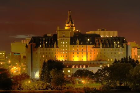 The Delta Bessborough hotel is a ten-storey hotel located in downtown Saskatoon, Saskatchewan, Canada. The hotel is a historical landmark in Saskatoon and is known for its castle-like appearance. Processed using HDR. photo