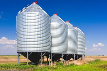 storage bin: Steel grain silos used to store grain.