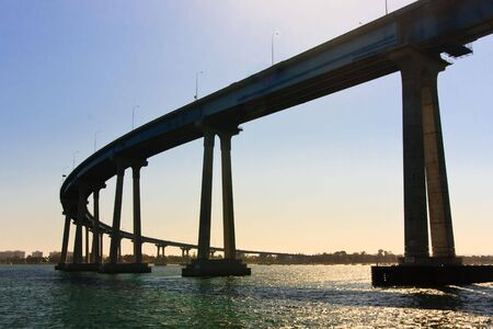 diego: San Diego - Coronado Bridge, locally referred to as the Coronado Bridge, is a concrete & steel girder bridge, crossing over San Diego Bay in the United States, linking San Diego, with Coronado, California.
