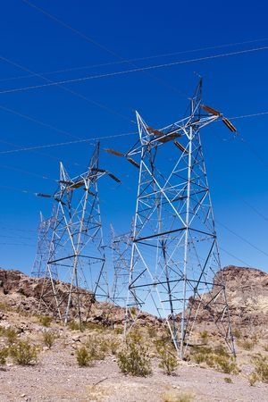 Electrical towers near Hoover Dam in Nevada photo