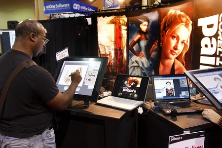photoshop: LAS VEGAS - SEPT 2: Vendor demonstrating Corel Painter at Photoshop World 2010 conference and expo. September 2, 2010 in Las Vegas, Nevada.