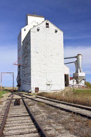 Grain Elevator standing on the Canadian Prairie town of Domremy, Saskatchewan photo
