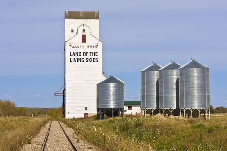 Land of the Livings Skies slogan can be found on a grain elevator in Saskatchewan photo