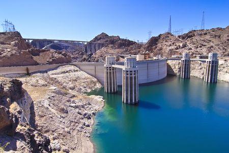 Water intake towers at Hoover Dam, Nevada  Arizona border Stock Photo
