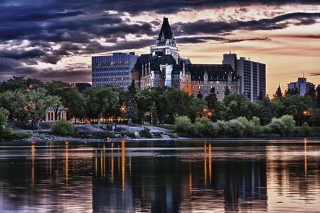 The Delta Bessborough hotel is a ten storey hotel located in downtown Saskatoon, Saskatchewan, Canada. The hotel is a historical landmark in Saskatoon and is known for its castle like appearance. Processed using HDR. photo