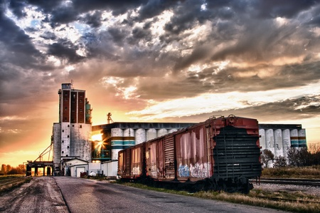 Grain terminal at sunrise in Saskatoon, Canada photo