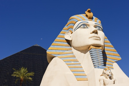 luxor: LAS VEGAS - AUG 31: Statue of Sphinx from Luxor Hotel Casino, the most recognizable hotels on the popular Vegas strip because of its striking design, August 31, 2010 in Las Vegas, Nevada.