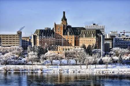 enhanced: The Delta Bessborough Hotel, a well know Saskatoon landmark in central Canada.  HDR enhanced.