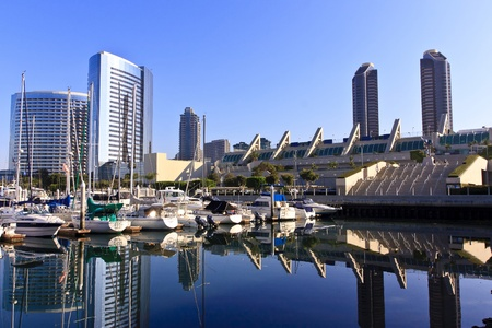 San Diego city skyline showing the buildings of downtown rising above harbor.