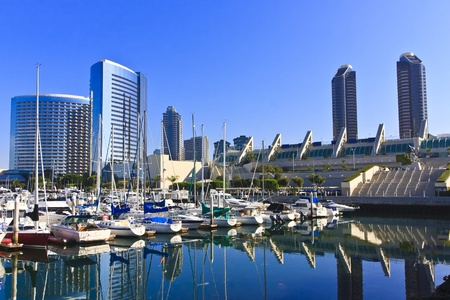 diego: San Diego city skyline showing the buildings of downtown rising above harbor.