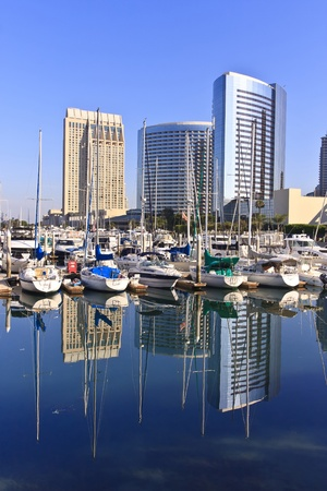 San Diego city skyline showing the buildings of downtown rising above harbor. photo