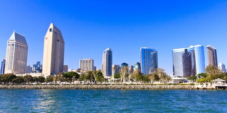 surrounding: City architecture surrounding San Diego Bay in the Summer