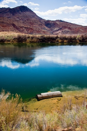 west river: Old steamboat part from the historic Lees Ferry Crossing at the Colorado River in Grand Canyon country. Stock Photo