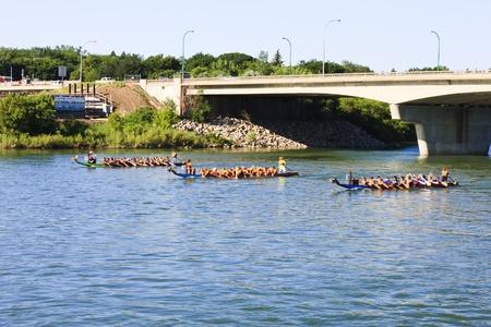 サスカトゥーン - 7 月 24 日: 選手の戦いの勝利のためにハードに竜ボートレース祭 2010 年 7 月 24 日でサスカトゥーン、カナダで楽しい時間を過ごし