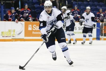 SASKATOON - FEB 2: Matej Stransky playing at a Western Hockey League (WHL) game featuring the Regina Pats at the Saskatoon Blades. February 2, 2011 in Saskatoon, Canada.